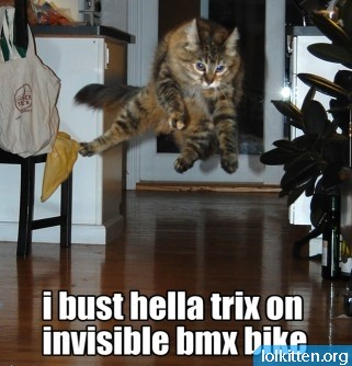i bust helly trix on invisible bmx bike