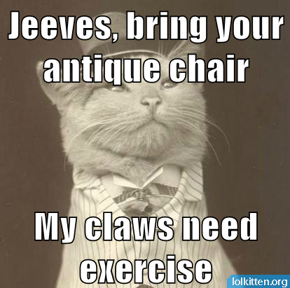 Jeeves, bring your antique chair - My claws need exercise