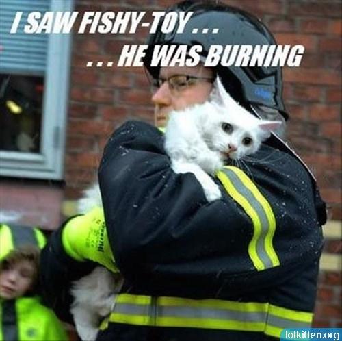 I SAW FISHY-TOY... ...HE WAS BURNING